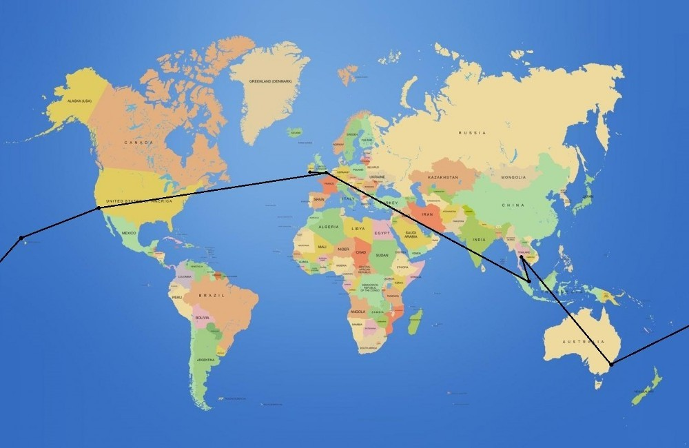 Cork - London - Los Angeles - Honolulu - Sydney - Bangkok // Singapore - London - Cork
