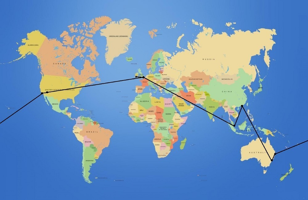 Cork - London - Las Vegas - Los Angeles - Brisbane // Sydney - Hong Kong // Singapore - London - Cork