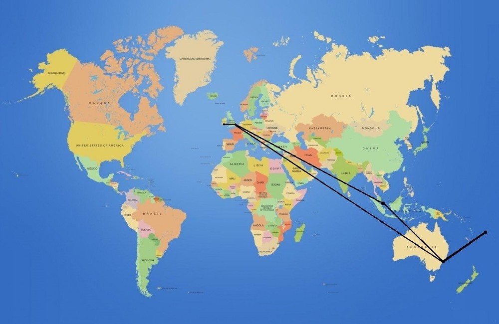 Cork - London - Singapore - Sydney // Brisbane - Fiji - Brisbane // Sydney - London - Cork